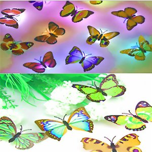 Colorful RGB Butterfly night light LED night lamp Beautiful Home Decorative Wall Nightlights Color Random led lamp battery free shipping