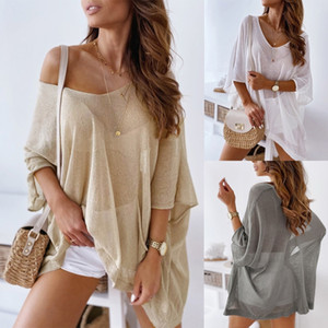 l3N4O vêtements d'été de couleur en vrac solides tout-match de haut niveau vêtements pull-over Pull protection solaire mince vêtements crème solaire vêtements ZC3737 UI4xb