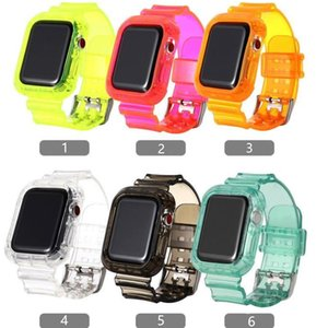 Soft TPU Clear Strap Watch Band + Bumper Case for iWatch 1 2 3 4 5 38MM 42MM 40MM 44MM