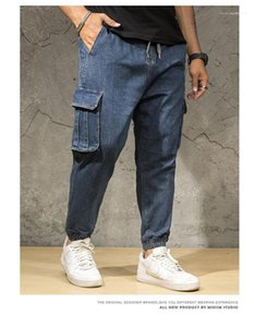 Fashion Pocket Drawstring Pants Fitness Mens Trousers Hip Pop Male Clothing Plus Size Mens Designer Cargo Pants