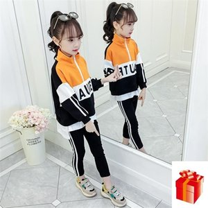 4 6 8 10 12-year-old Kids Girl Spring and Autumn Clothing Sets Stand-up Collar Letter Top + Trousers Ribbon Stripe Sports Suit