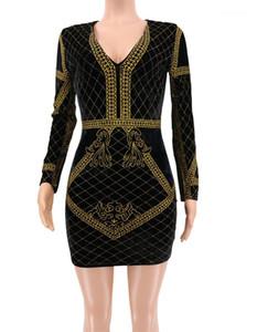 Drucken getäfelten Womens Bodycon Kleider Modedesigner Kleider Weibliche Kleidung Velvet Vergolden der Frauen beiläufige Kleider Sexy