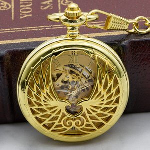 Retro Vintage Golden Angel Wing Men Women Pocket Watches Mechanical Watch Carved Lid Skeleton Dial Pendant Chain PJX1326 T200502