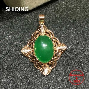 SHIQING 100% Nature green chalcedony sterling silver cross gothic vintage pendant necklace for women girl