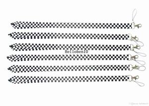 Cgjxs 100pcs Squares Black White Coloured Lanyard Mobile Phone Id Card Keychain Titular