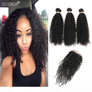 Wholesale Mongolian Kinky Curly Hair With Closure Unprocessed Malaysian Indian Peruvian Brazilian Human Hair Weave 3 Bundles and Closure