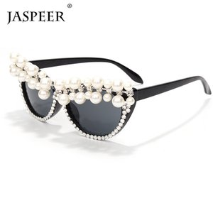 Sunglasses JASPEER 2021 Pearl Cat Eye Women Vintage Rhinestone Men Designer Retro Diamond