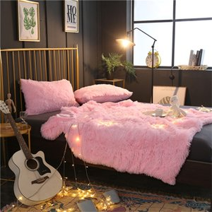 Fashion Long Plush Warm Sofa cover Bed cover set Kids Teens Throw Blanket Reversiblenap blanket fur bay window