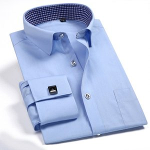 French Cuff Button Men Dress Shirt Classic Long Sleeve Brand Formal Business Tuxedo Shirts with Cufflinks Wedding Clothing T200914
