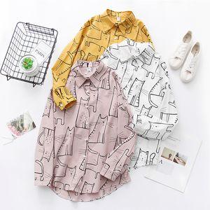 2020 spring summer cotton Women Blouses harajuku kawaii cartoon cat Blouse Long Sleeve Shirt Camisas Femininas Female Tops