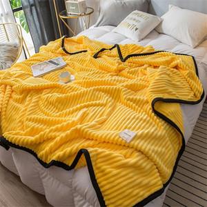 Blanket listrado amarelo-rosa macio por sofá Sofá Viagem / Bed Cover / Car decorativa portátil Lance Mantas Aircondition Colcha