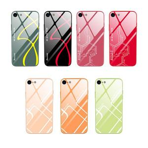 Customized 9H vetro temperato posteriore dura di caso per iPhone 6 7 8 6S più molle della cassa della copertura del silicone bordo del telefono a prova di esplosione
