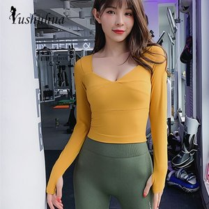 Autumn New Gym Women long Sleeve Sport Shirts Quick Dry Deep V-neck Fitness workout Tops thumb buckle Tight Yoga Tops With pad