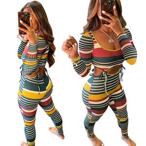 여성 운동복 두 조각 세트 디자이너 섹시한 컬러 스트라이프 스레드 긴 소매 T 셔츠 바지 의상 스트리트 패션 스포츠 의류 새로운