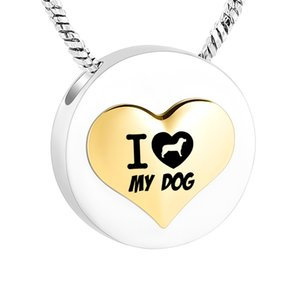 I Love My Dog-Stainless Steel Round Cremation Pendant For Ashes Dog Funeral Urn Jewelry Keepsake With Fill Kit Velvet Bag