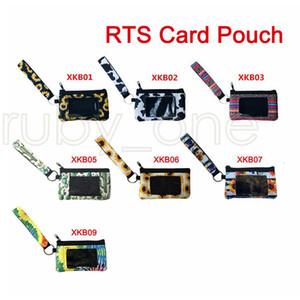 Держатель неопрен ID Card Сумка Подсолнечного Leopard Printed кредитной ID карта Сумка Портмоне Wristlet Zipper мешок для хранения с брелоком RRA3576