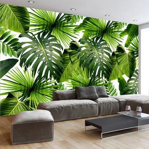 Fond d'écran personnalisé 3D Mural Tropical Rain Forest Banana Feuilles Papiers peints photos Salon Restaurant Cafe Backdrop Papier Photo murales