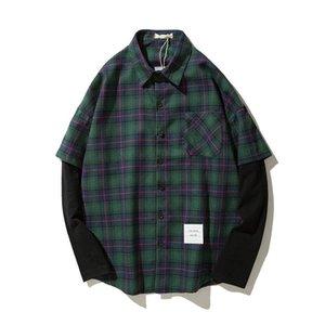 Японский стиль бренда Повседневная клетчатка длинные рукава рубашка для мужчин весна осень зеленая красная одежда кг-666