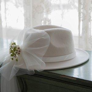 2020 화이트 퓨어 울 재즈 모자 여성 활 거즈 꽃 페도라 브랜드 가을 겨울 Bowknot 필 박스 챙이 넓은 페도라 솜브레로 모자