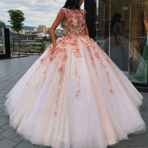 Princess Floral Flowers Ball Gown Quinceanera Dresses 2020 Sweet 16 Dress Prom Dress Lace Appliques Puffy Skirt Pageant Gowns