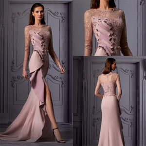 Sexy Side-split Evening Dresses Newest Long Sleeves Lace Beads Appliqued Formal Party Dress Ruched Satin Sweep Train Custom Made Prom Dress