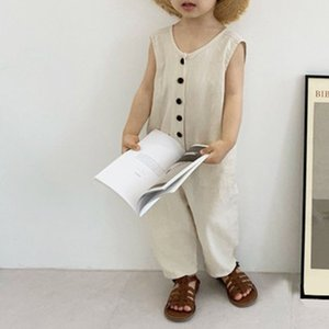summer kids overalls Korean girls jumpsuits sleeveless boys overalls fashion outfit for 2-7 years