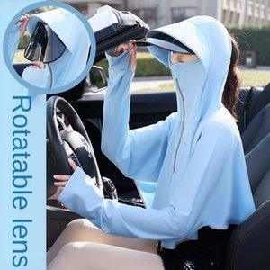 짧은 코트 옷 자전거 자외선 차단제 옷 자외선 차단제 옷을 운전 mIjRF 회전 렌즈 짧은 코트 얼음 실크 숄 야외 자전거