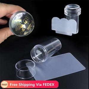 Silicone Jelly Handle cabeça do prego Stamper Para Nail Art Stamping Placa Com raspador polonês Manicure Kit Acessórios