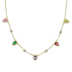 rainbow tear drop cubic zirconia cz choker necklace gold cz station chain trendy women jewelry
