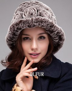 100% real sombreros de piel de las mujeres a mano punto Rex Fur gorritas invierno envío DL6147