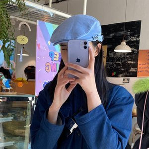 q7b3p Kadın Sivri kap Kore tarzı moda moda bahar ince siperli şapka ileri şapka ressam şapka hepsi maç beret beret
