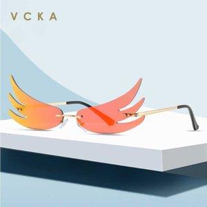 VCKA 2020 Tasarımcı kişilik Rimless Kanat Güneş Kadınlar Lüks Renkli Moda Güneş Gözlükleri Yansıtmalı Alev Sunglass