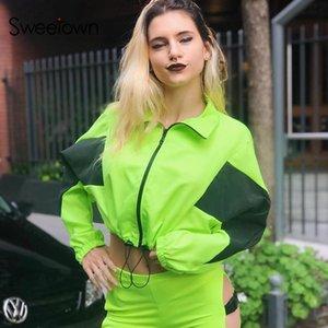 Sweetown Neon Renkli Bombacı Ceket Kadınlar Casual Kontrast Renk Ceketler Coats Uzun Kollu Turtleneck Sonbahar Mahsul Ceket Streetwear