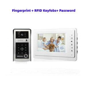 RFID 7inch empreintes digitales Mot de passe Moniteur vidéophone Interphone Sonnette avec caméra de vision nocturne 1000TV Ligne de contrôle d'accès