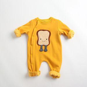 Baby Boys Girls 0-2T Cotton Long Sleeve Bread Cloud Egg Applique Fleece warm Romper Children Winter bodysuit