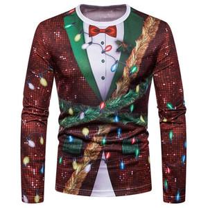 2020 Autumn Funny Christmas Men's T shirt Print Tops Male Long Sleeve T-Shirt Round Neck Animal Pattern Clothing Tshirt