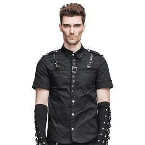 New Gothic steampunk fashion man short-sleeved shirt cultivate one's morality Men Black Blouse Shirt