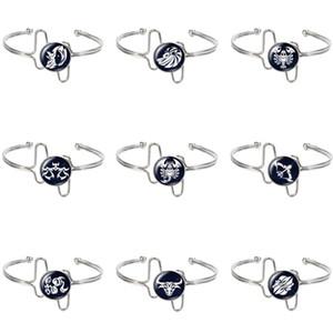 Nouvelle Beauté 12 constellations cabochons verre symbole couleur argent / or Bracelet manchette Bracelets bijoux de cadeau de Noël ZB0697
