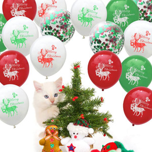 10pcs Merry Christmas Assortment Latex Balloons Confetti Balloons With Elk Printed Party Favors