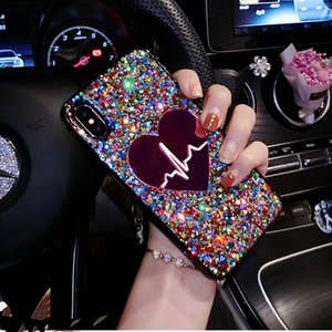 Glitter Sequin Big Heart phone Case iPhone 11 Pro X XS Max XR 6 7 8 plus 3D Love Soft TPU Cover For Samsung S9 S10 Note9