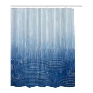 Startseite Großdruck Regen-Tropfen Universal-wasserdichtes Gewebe Anti Mildew mit Haken Platz Vivid Polyester dekorativer Duschvorhang