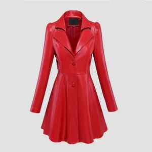 T200908 재킷 인테르 맞춤 플레어 인조 가죽 코트는 노치 옷깃 긴 퍼프 슬리브 블랙 플러스 크기가 빨간색 스커트 블랙 라이트 가죽