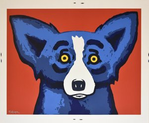 George Rodrigue Blue Dog Head Over Heels Home Decor dipinto a mano HD Stampa Olio su tela di arte della parete della tela di canapa Immagini 200914