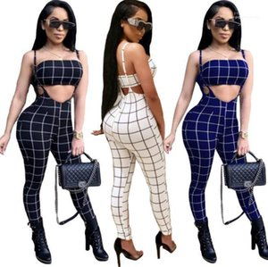 2pcs Fashion Female Suits Womens Designer Clothing Sets Casual Tracksuits Playsuits Plaids Strapless Bras