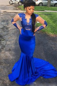 Royal Blue Mermaid Prom vestidos formales con manga larga 2021 del desgaste del cordón de la mancha Sheer barrido cuello de la joya de tren africana ocasión Vestido de noche