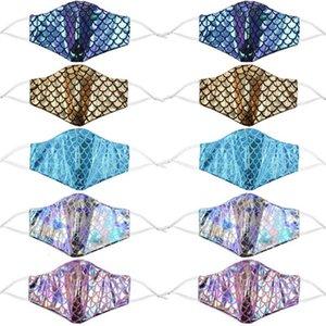 colorida de la sirena con lentejuelas de filtro de bolsillo del arco iris del polvo anti Cara máscara cubre láser lavable Diseñador Owd1431