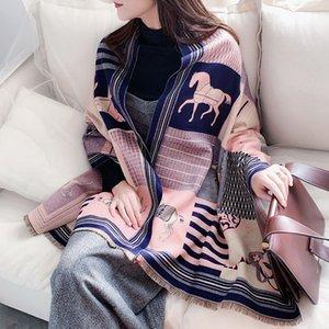 2020 Scarf Women Shawls Cashmere Warm Scarves Female Blanket Wraps Horse Print Lady Blanket Stoles