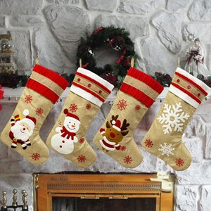 Santa Stocking Sock Candy Bags Christmas Tree Ornamets Pendants Linen Gift Bag For Children Fireplace Hanging Decor Party#p30