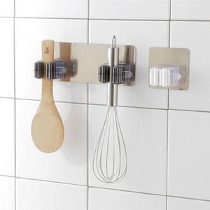 La perforación 1pc cocina de la suspensión Organizador fregona montado en rack Auto Baño Hook No Color de la pared removible Adhesivo escoba aleatoria titular pvSdm