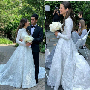 Elegant High Neck Wedding Dress New Arrival A Line Long Sleeves Lace Bridal Gown Custom Made Robe de mariee
